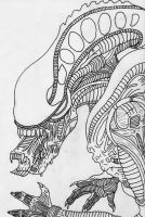 Alien Warrior Line Art by GRIDALIEN