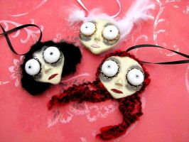 Doll Head Pendants group 1 by Miss-Millificent