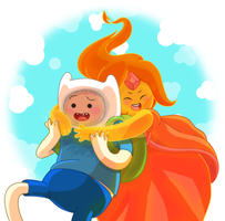 finn the human + flame princess (adventure time) by lingcon
