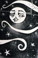Linocut Moon 1 by TheNecco