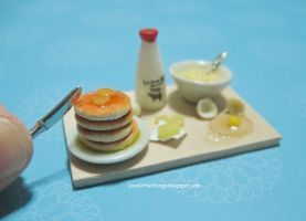 Dollhouse Miniature Pancakes Prep Board by ilovelittlethings