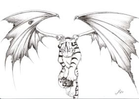 winged tiger tattoo by LilDevilMomoko