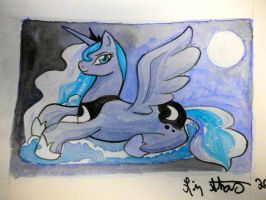 Princess Luna on a Cloud by lizstaley