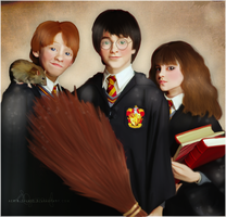 The Golden Trio by Aerie-Faerie
