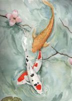 Koi Under Dogwood by firesprite