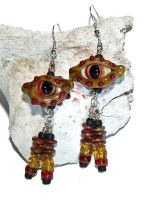 Trogdar Glass Eye Earrings by copperrein