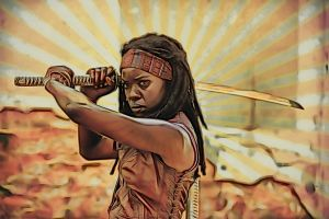 The Walking Dead: Michonne: Crayon Sketch Re-Edit by nerdboy69