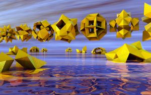 Gold Cubes and Water by Jollard