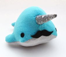 Teal Mustachioed Narwhal by TheOstrichFarm