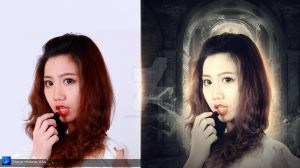 Red lips Before and After by Hoangvanvan