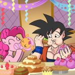 Pinkie Pie and Goku sharing a yummy lunch by PaulTorsynoCobnik