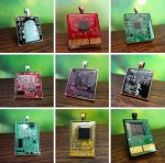Circuit board pendants by Koreena