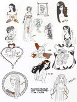 500+ Watchers Sketchdump part 1 by InkyRose