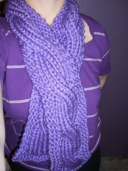 cabled purple scarf by RuinosaAncilla