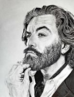 Pencil and Ink Timothy Omundson/Cain by EnderBerlyn