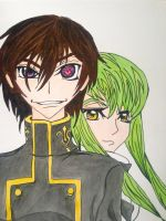 Lelouch vi Britannia and C.C. by margeaux202