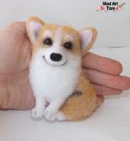 Welsh Corgi Pembroke - Needle felted brooch by WoolArtToys