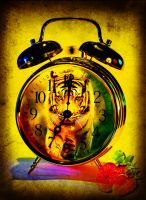 A cat, a fruit, a clock by NiennaVernet