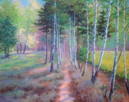 Birches path by herrerojulia by painters