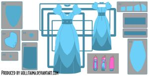 PB layered blue dress cosplay design draft by Hollitaima