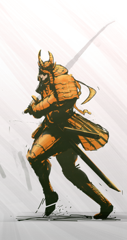 just a sketch of a golden samurai by przemek-duda