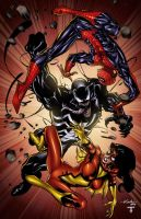 Spidey, Venom and Spider-woman by juan7fernandez