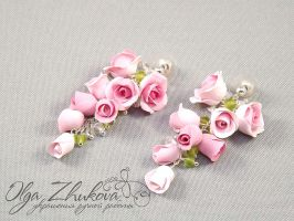 earrings with roses by polyflowers