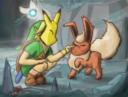 Hey! - Link finds Flareon by Jo-Onis