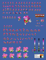 Amy in Sonic 1 Sprite Sheet by E-122-Psi