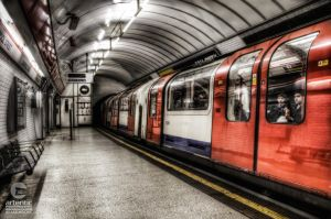 Departing London Underground Train by artentic