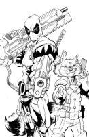 DEADPOOL ROCKET inks by ColtNoble