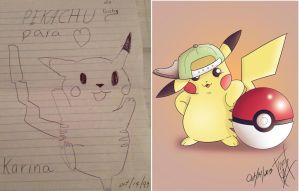 Pikachu Then and Now by BenRivers