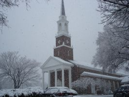 St. Mary's Church during snow by Cojaro