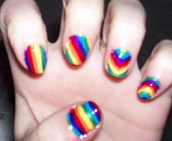 Rainbow Nails by HideTheKnives