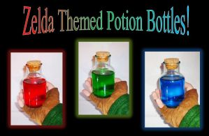 For Sale!  Zelda Themed Potion Bottles by Linksliltri4ce