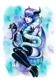 Monster Girl with Ball Python - Watercolor by Sabtastic