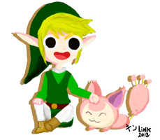 Link and skitty by KINLINK