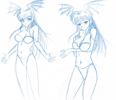 Morrigan Sketches by ProfessorMegaman