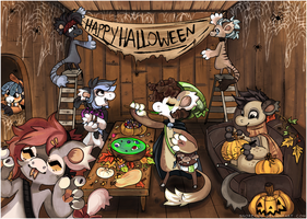 Decorating for Halloween by Snorechu