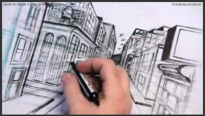 How to draw a city in one point perspective 038 by drawingcourse