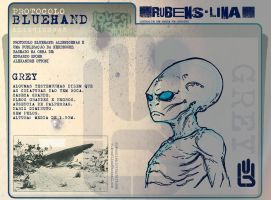 Grey Alien Blue Hand Protocol by rubenslima