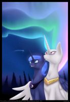 Sparkling night and aurora lights by TheBlueDreamMaker