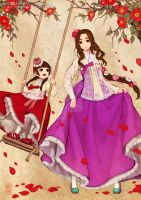 Royal Ladies  in lacy hanbok dress by theobsidian