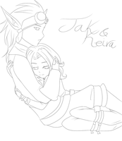Jak and Keria :Lineart: by ThePinster