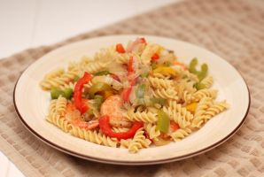 Shrimp Rotini with Onions and Bell Peppers by raymondtan85