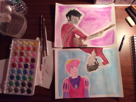 Watercolor practice - Adventure Time - Fanart by The-Phantom-Invader