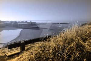 view in winter to ballybunion castle and sepia ben by morrbyte