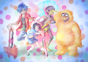 Gorillaz + Adventure time :P by PetiteNuelle