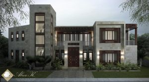 Neo-Islamic villa Main entrance by kasrawy