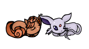 Vulpix and Espeon by abbic314